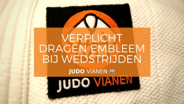 Verplicht dragen JV embleem op judopak bij wedstrijden